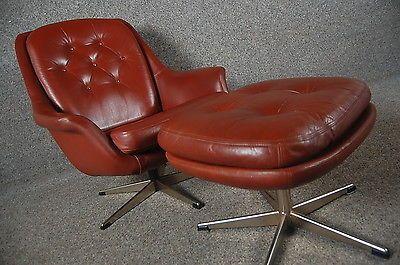Vintage Retro Danish leather swivel chair u0026 footstool | East London | Pinterest | Leather swivel chair and Swivel chair & Vintage Retro Danish leather swivel chair u0026 footstool | East ... islam-shia.org