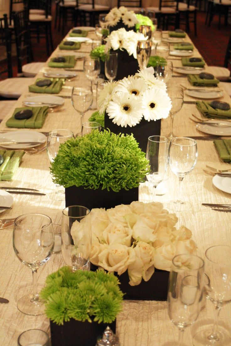 Table Flower Arrangements | the black of the floral containers really accentuated the greens and                                                                                                                                                                                 More