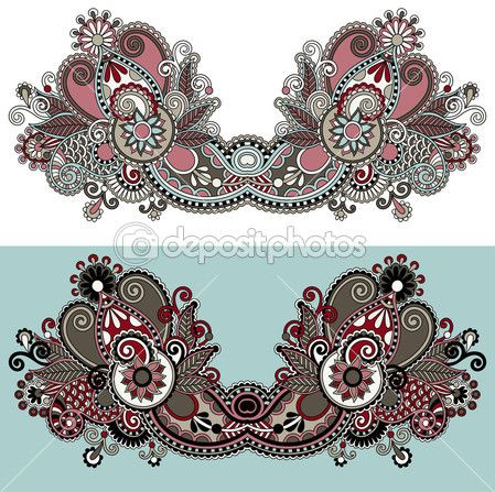 diseño de moda escote adornado bordado floral de paisley — Ilustración de stock #31773417