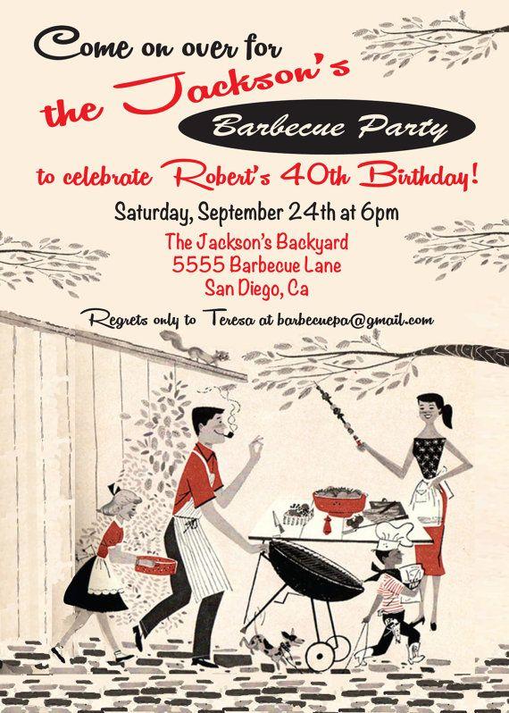 Vintage Retro Barbecue Party Invitation by McBooboos on Etsy