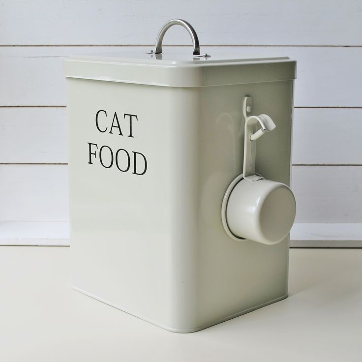 Cat food storage tin container clay in colour which is a