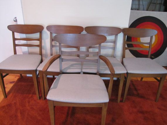 Mid Century Modern Dining Chairs, Set of 5, Retro Dining Room Chairs, Ladder Back Chair, MCM Dining Room Chair, Grey Fabric Upholstery Chair