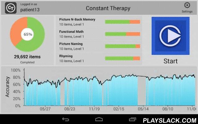 Constant Therapy  Android App - playslack.com ,  Constant Therapy is an award winning solution for personalized therapy to help with speech, language, cognition, memory & learning disorders. People who have Aphasia, TBI (Traumatic Brain Injury), stroke, speech problems, reading or language disabilities can use this program with access to 60,000+ items across 65 task categories.Constant Therapy was designed by scientists at Boston University and is recommended by speech language…