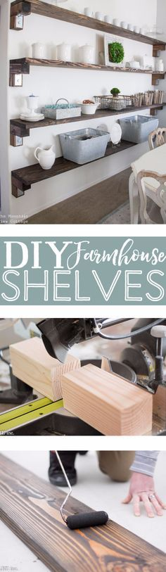 DIY Farmhouse Style Decor Ideas - DIY Farmhouse Shelves - Rustic Ideas for Furniture, Paint Colors, Farm House Decoration for Living Room, Kitchen and Bedroom http://diyjoy.com/diy-farmhouse-decor-ideas