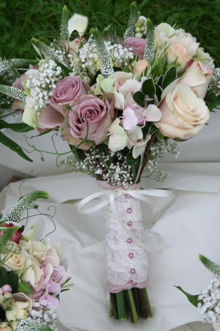 Pretty Summer Hand Tied Bouquet with Amnesia Roses, Sahara Roses, Gypsophila, Hydrangea, Veronica & sweet peas