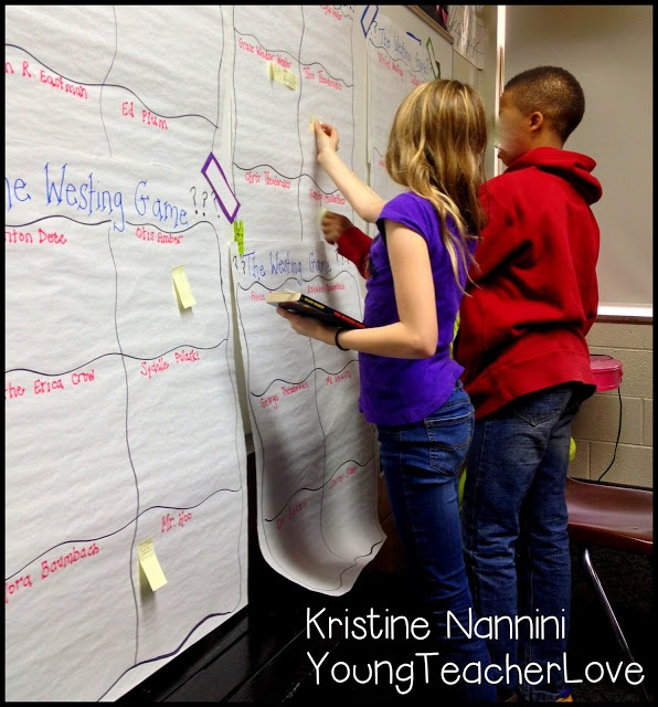 Each student is in charge of keeping track of a character during our read a loud. Great for a studying characters unit!- Young Teacher Love Blog by Kristine Nannini