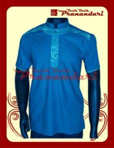 Koko Kombinasi Batik dengan Katun Ima Warna Hijau Toska