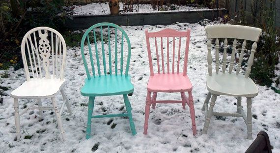 This is how I want my chairs for my kitchen table!  Mismatched and colorful.