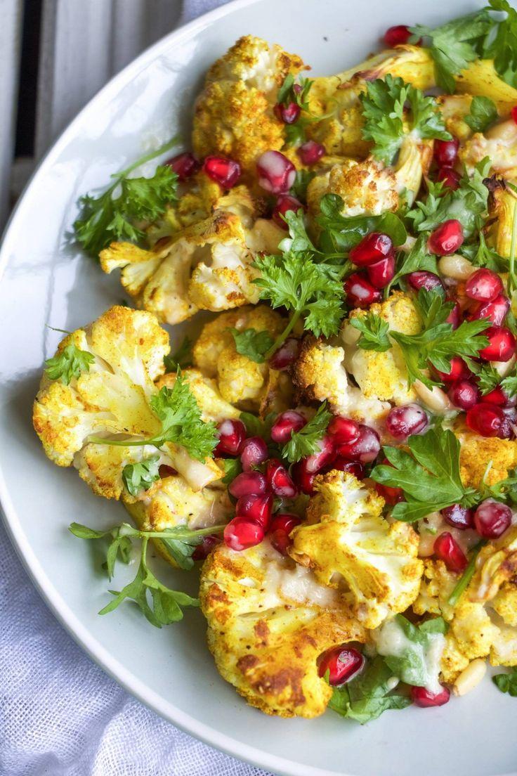 tumeric roasted cauliflower salad with sweet tahini dressing