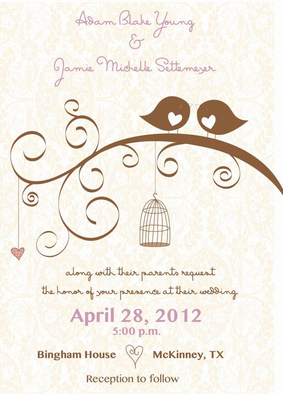 Love Bird Wedding Invitation Elegant  DIY by AestheticJourneys, $25.00