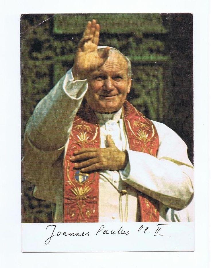 Papst Johannes Paul II Ansichtskarte segnend mit Stola u. Unterschrift