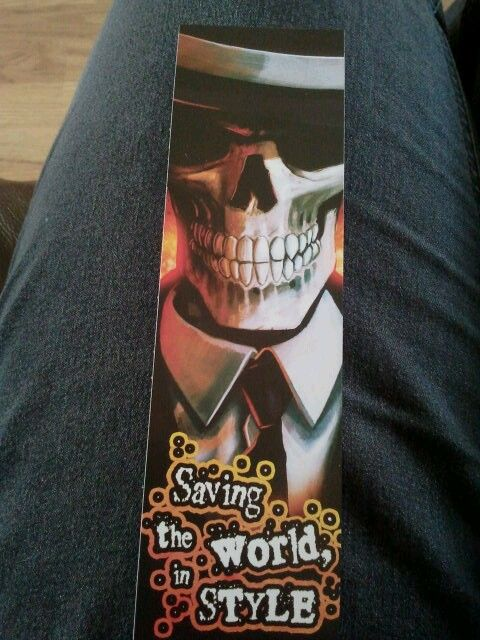Bookmark from Skulduggery Pleasant book series.