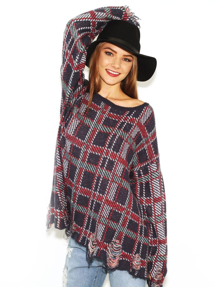 Wildfox White Label Tight Knit Sweater All Over Plaid in Multi Medium  http://budgetfashionstore.com/tag/wildfox-white-label-specials/