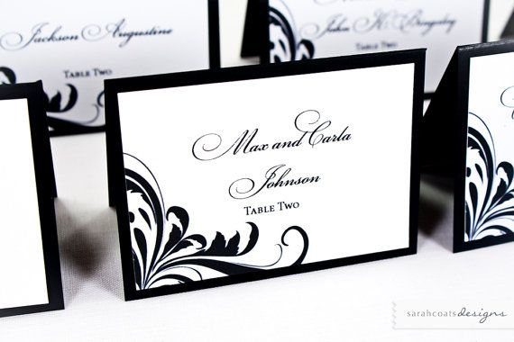 Wedding Place Cards set of 10  Black by SarahCoatsDesigns on Etsy, $14.00