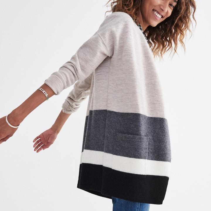 Madewell Meridian Sweater-Jacket in Stripe