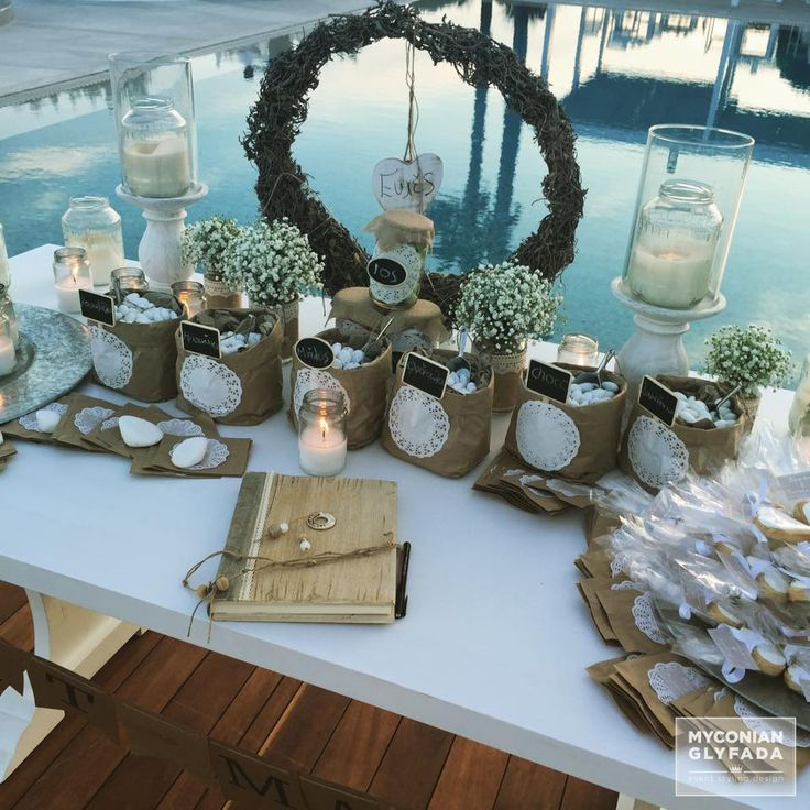| Beautiful Sunset Wedding | Βασίλης & Κωνσταντίνα | #greekwedding #sunsetwedding #welcometable #wishtable #justmarried #candybar #weddingflowers #myconianglyfadawedding