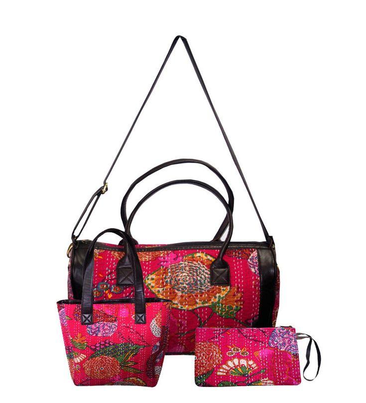 Women's Cotton Tote Bag Kantha Shopping Bag Clutch Bag Handbag 3 Pcs Set  #Handmade #ShoulderBagToteBagClutchBag