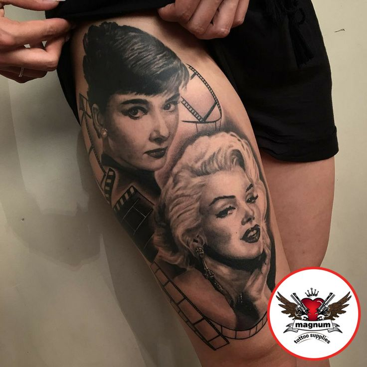Audrey Hepburn & Marilyn Monroe from Jakegalleon created with #magnumtattoosupplies. 👌👌  #tattooed #tattooart #bodyart #tattoocommunity #tattooedcommunity #tattooedpeople #tattoosociety #silverbackink #ink #inked #edinburghtattoo #inklife #uktta #tattooculture #blackandgrey #blackandgreytattoo #taot #bnginksociety #besttattoos #skinartmag