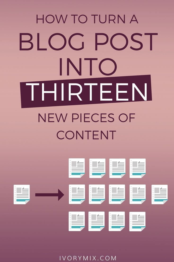 How to turn one blog post into multiple pieces of content. Make the most from your content and turn one blog post into multiple things to share. Get ideas for social media too.  #blogging #socialmediamarketing