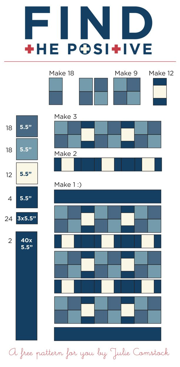 Free Quilt Pattern by Julie Comstock.  This would be great for a denim quilt.