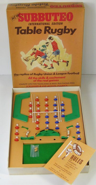 Subbuteo Table Rugby International Edition. Second attempt. Also didn't quite work for me. Came to the conclusion that I couldn't do sport in games or in real life either!