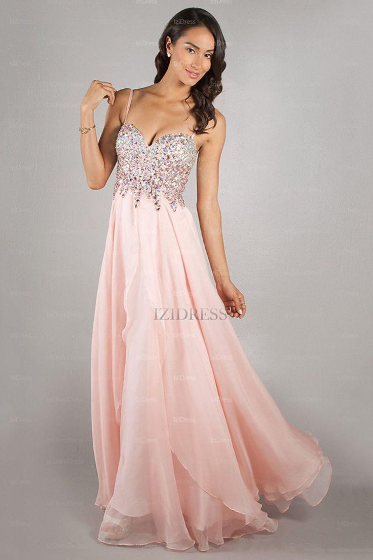 A-Line/Princess Sweetheart Spaghetti Straps Chiffon Floor-length Prom Dress  - IZIDRESSES