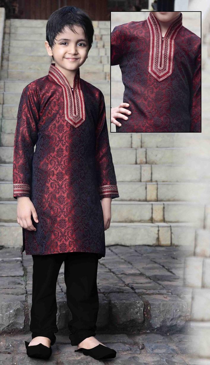 Mehroon jacquard readymade kurta pajama.