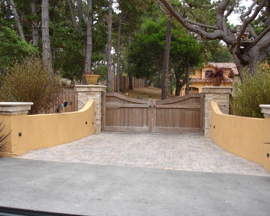 Excellent Solid Outdoor Wood Gates Designs With Delectable Design: Mediterranean Exterior Driveway Wooden Entrance Gate And Boundry Wall As Appealing Design And Style ~ ilinksgroup.com Architecture Inspiration