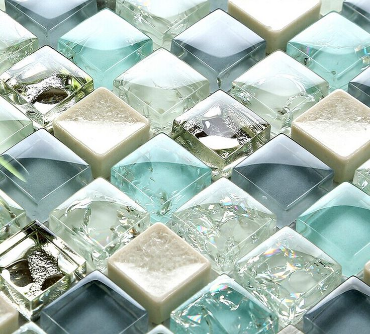 Blue ice crack glass tile mosaic sheets beige crackle glass porcelain backsplash…