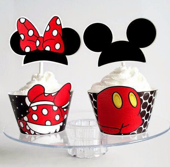 Mickey y Minnie: Preciosos Wrappers y Toppers para Cupcakes para Imprimir Gratis. | Ideas y material gratis para fiestas y celebraciones Oh My Fiesta!