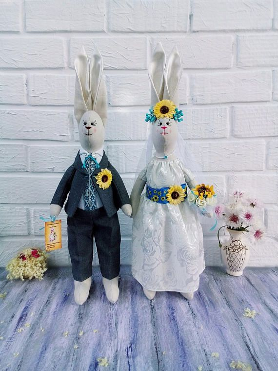 couple wedding gift handmade weddings Wedding rabbits Stuffed