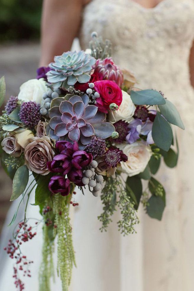 Succulents are always on-trend, and they're a great way to add a boho feel to a fall bouquet.     Photo via  Pop Sugar.