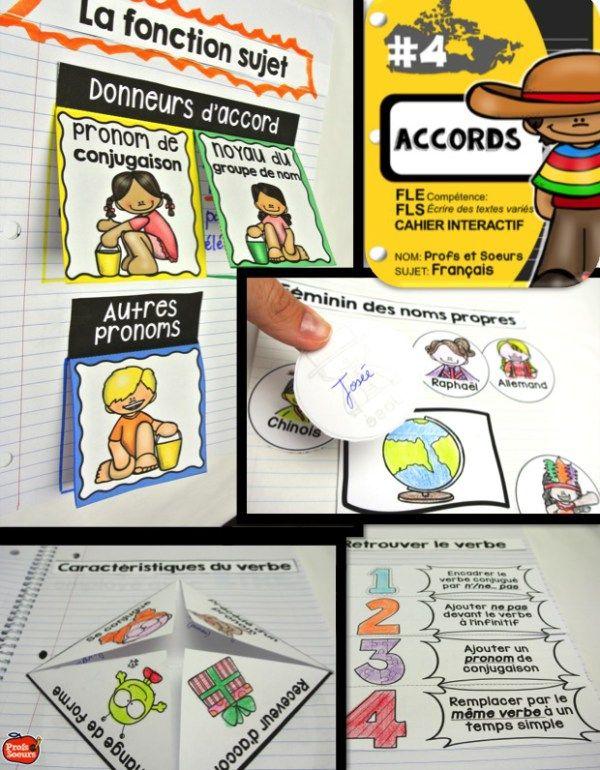 Cahier interactif de français: Les Accords par Profs et Soeurs                                                                                                                                                      Plus