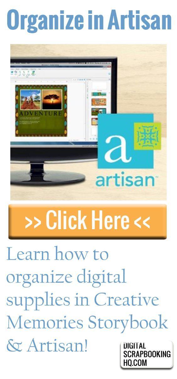 Learn how to organize digital scrapbooking supplies for Panstoria Artisan or Creative Memories Storybook Creator. Click for full tutorial! #digiscrap #digital #scrapbooking