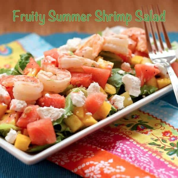Grilled Shrimp Salad with Strawberry Lime Poppyseed Vinaigrette is light and summery, crisp and refreshing summer salad recipe with grilled shrimp. Gluten free and packed with flavor!