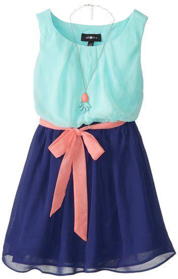 Amy Byer Big Girls' Color-Block Sleeveless Dress,Mint,10 --- 1
