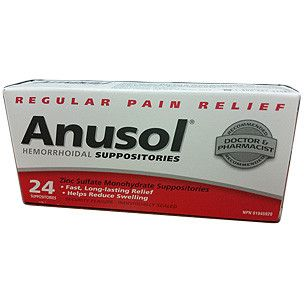 Anusol Hemorrhoidal Suppositories : - Zinc Sulfate Monohydrate - Fast, Long-lasting Relief, Helps Reduce Swelling - Doctor & Pharmacist Recommended - Made in Canada Ingredients: Each suppository conta