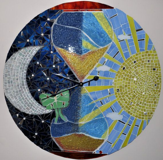 Sun And Moon Stained Glass And Painted Mosaic Clock By