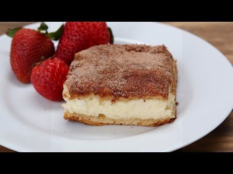 Here's A Recipe For Cinnamon Sugar Cheesecake Bars.  2 tubes crescent dough 16 oz cream cheese 1 egg 1 cup sugar, divided 1 tsp vanilla 2 Tbsp. cinnamon