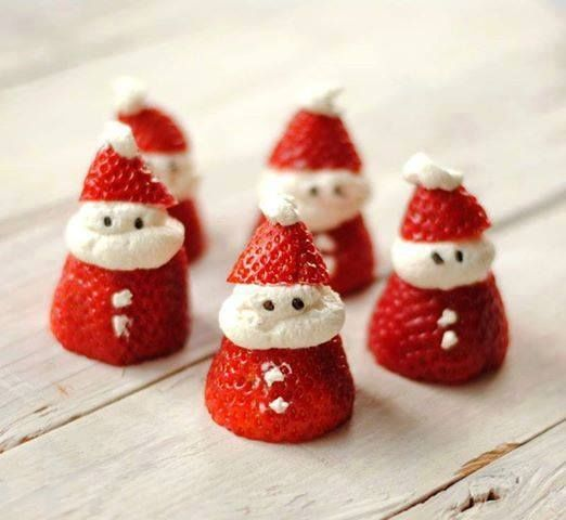Santa Strawberries Recipe  Ingredients: 1 dozen strawberries 1 cup whipped cream a handful of chocolate sprinkles  Directions:  Using a pairing knife, slice the leafy end off each strawberry so they stand up evenly. Then slice the tip off to make a little hat.  Using a spoon or a large icing tip, place a large dollop (about 1-2 tsp) of whipped cream on top of the strawberry base. Plop the little hat on top. Add another small dollop of whipped cream to the tip of the hat to make a mock…