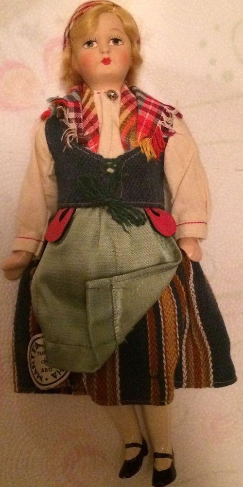 VINTAGE Martta Martha Famous Maker Folk Costume Tuusula Finland Finland Turku #Dolls