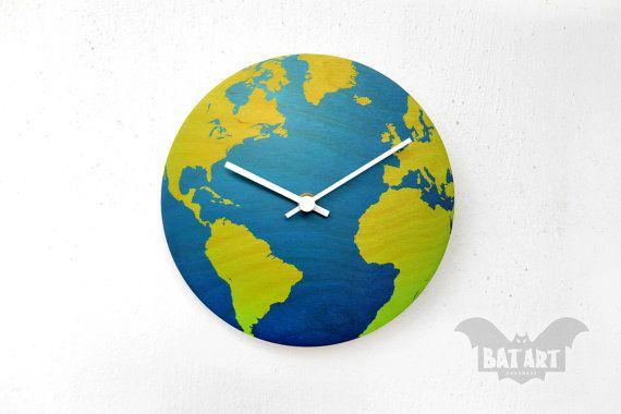 BAT Wall Clock 20cm globe blue green  White metal hands  by BatLab