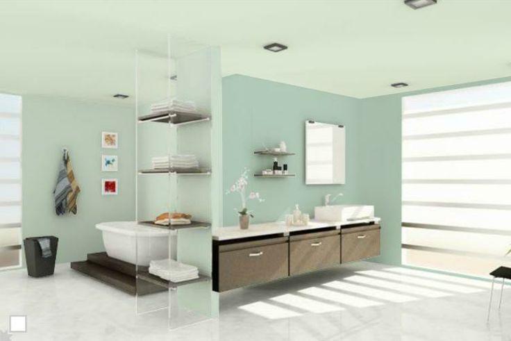 Un baño en colores relajantes. #comex #decoracion #deco #verde ...