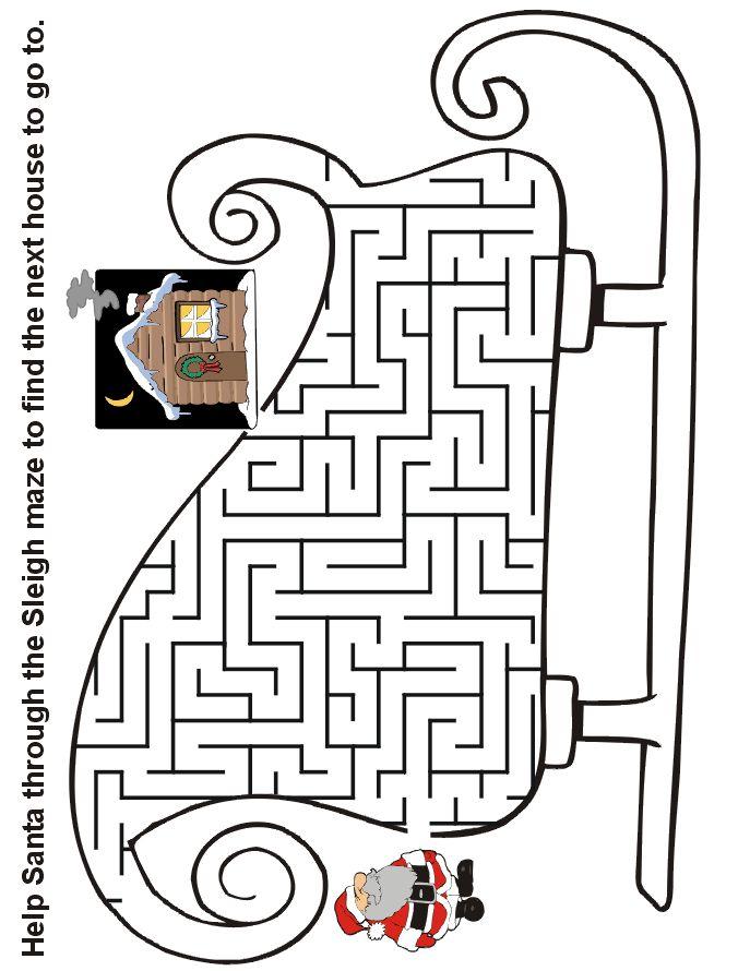 Christmas Maze: Help Santa through the sleigh maze to find the next house
