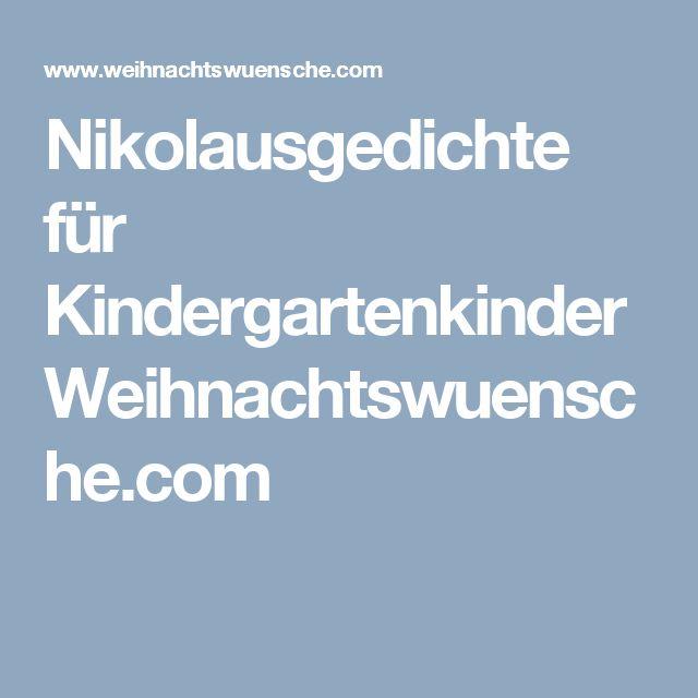 Nikolausgedichte für KindergartenkinderWeihnachtswuensche.com
