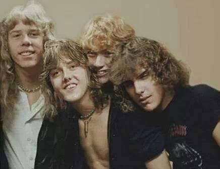 Another very good picture of old, OLD Metallica from 1981 -- (from l-r) James Hetfield, Lars Ulrich, Dave Mustaine, Ron McGovney