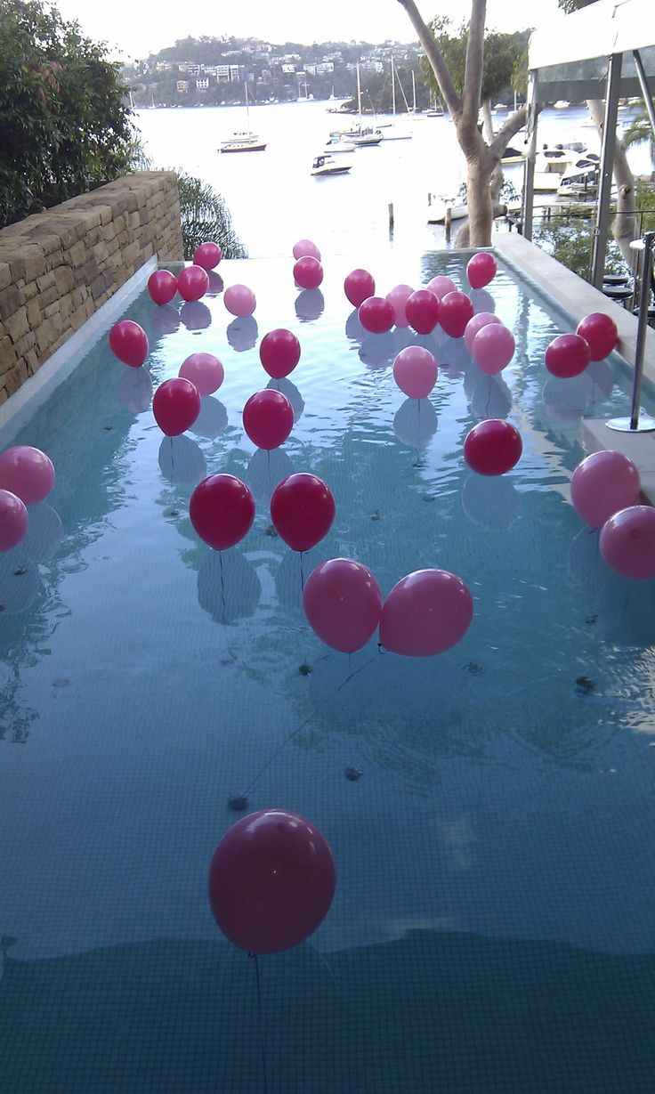 swimming pool beach ball background. Floating Pool Balloons Attached To A Single Weight Swimming Beach Ball Background O