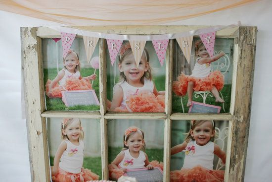 Photo Display: A vintage window made for the perfect photo display for Presley's party. Source: CN Photography