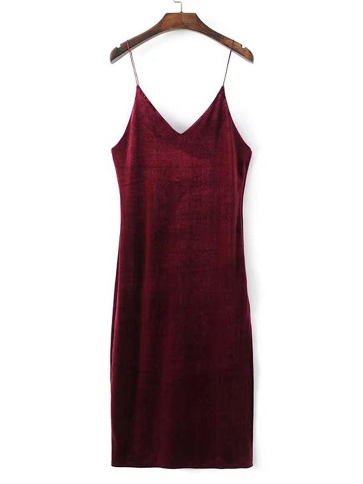 Vestido de tirante de terciopelo-Spanish SheIn(Sheinside)