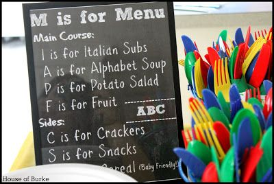 Menu for ABC 1st Birthday Party - House of Burke